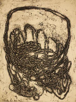 Reliefzeichnung, Epreuve d'l'artiste, 1963, 77x60 cm