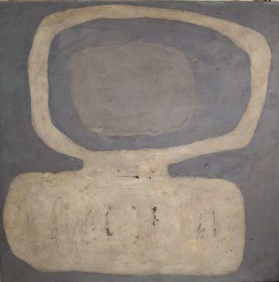 Asoka's belief II, 1964, Mischtechnik Öl auf Holz, 100x100